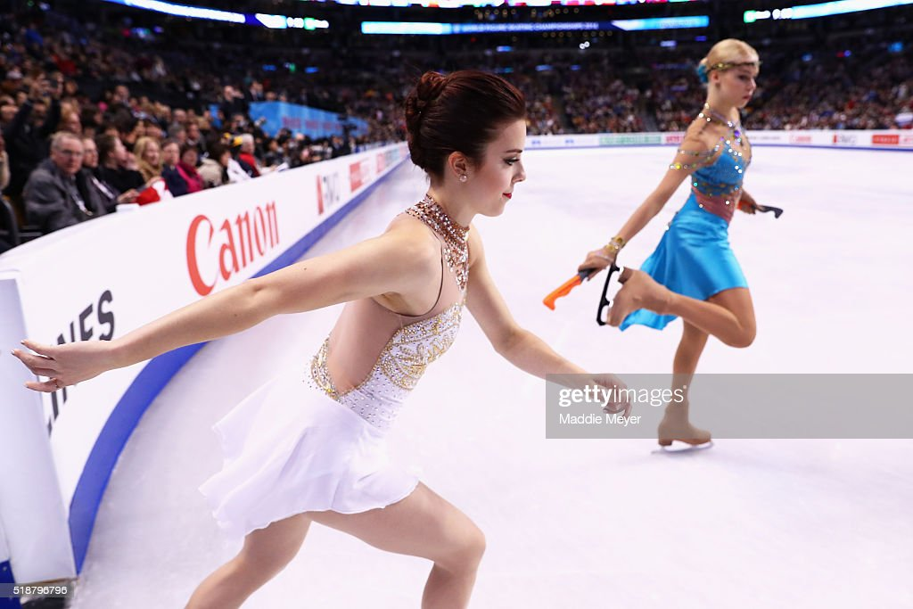 Ashley Wagner of the United States enters the ice to practice before the Ladies Free Skate on Day 6 of the ISU World Figure Skating Championships 2016 at TD Garden on April 2, 2016 in Boston, Massachusetts.