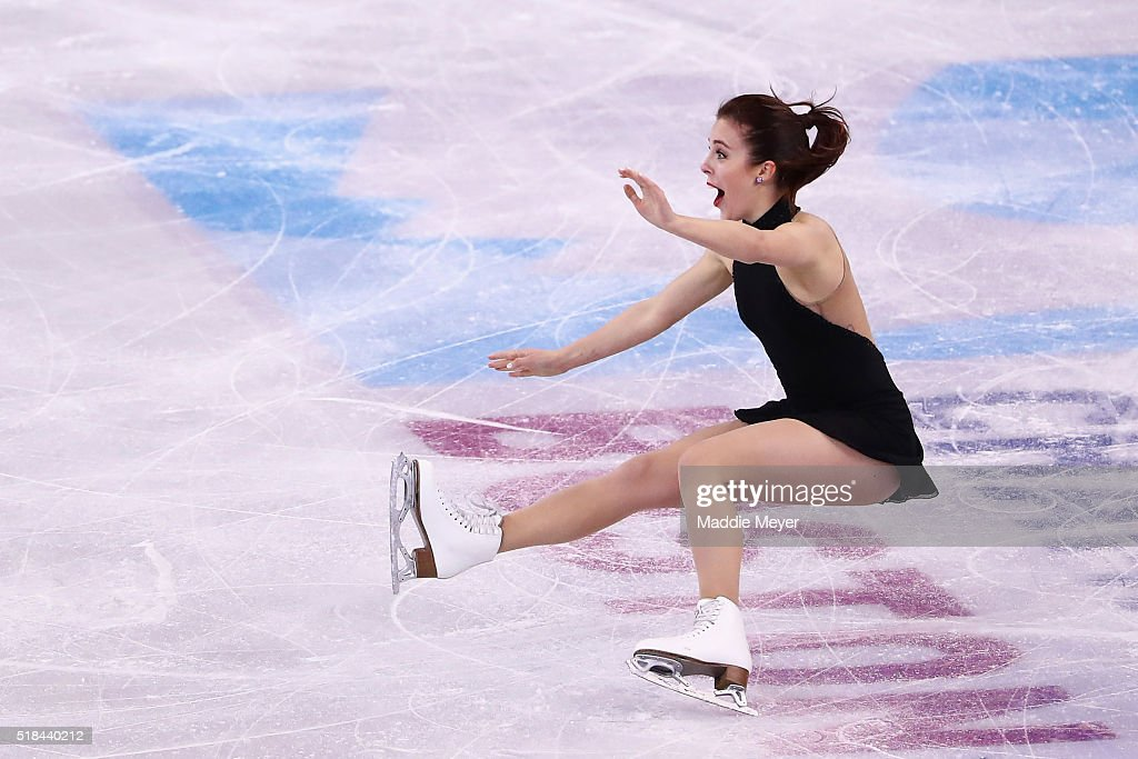 Ashley Wagner of the United States falls while celebrating the at the end of her routine in the Ladies Short Program during Day 4 of the ISU World...