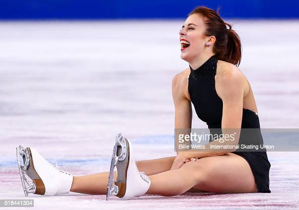 Ashley Wagner of the United States reacts after tripping after completing the ladies short program during Day 4 of the ISU World Figure Skating...