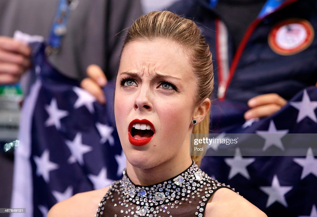 Ashley Wagner of the United States reacts to her score after competing in the Figure Skating Team Ladies Short Program during day one of the Sochi...