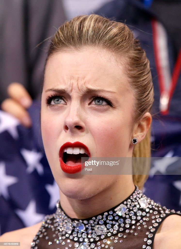 <a gi-track='captionPersonalityLinkClicked' href=/galleries/search?phrase=Ashley+Wagner&family=editorial&specificpeople=2564533 ng-click='$event.stopPropagation()'>Ashley Wagner</a> of the United States reacts to her score after competing in the Figure Skating Team Ladies Short Program during day one of the Sochi 2014 Winter Olympics at Iceberg Skating Palace on February 8, 2014 in Sochi, Russia.