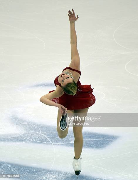 Ashley Wagner of the US competes in the ladies' free skating of the 2015 ISU World Figure Skating Championships at the Shanghai Oriental Sports...