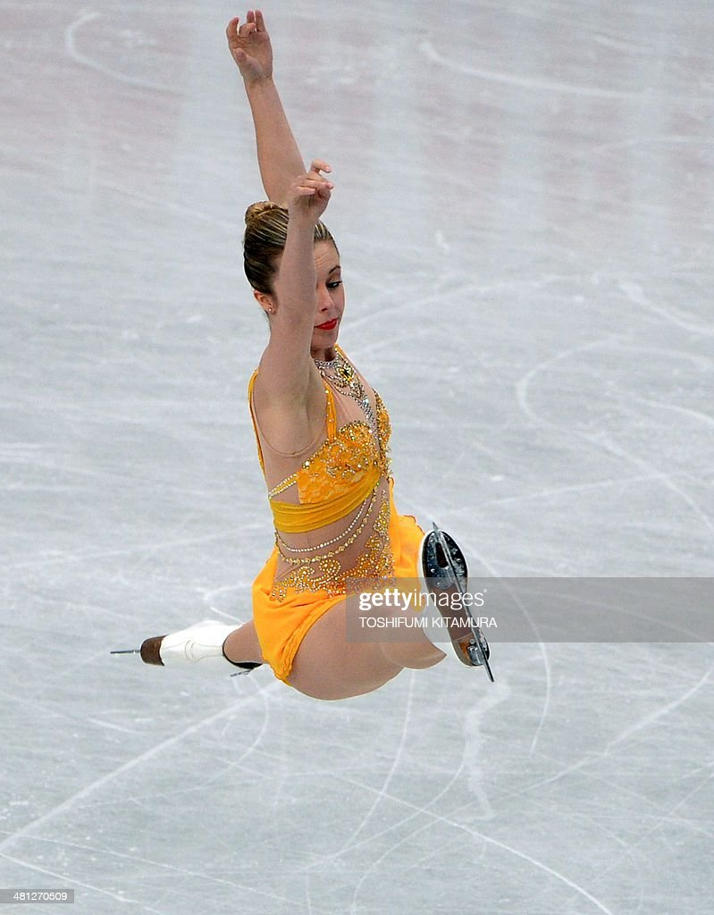 Ashley Wagner of the US performs during her free skating in the women's singles at the world figure skating championships in Saitama on March 29, 2014. AFP PHOTO / TOSHIFUMI KITAMURA