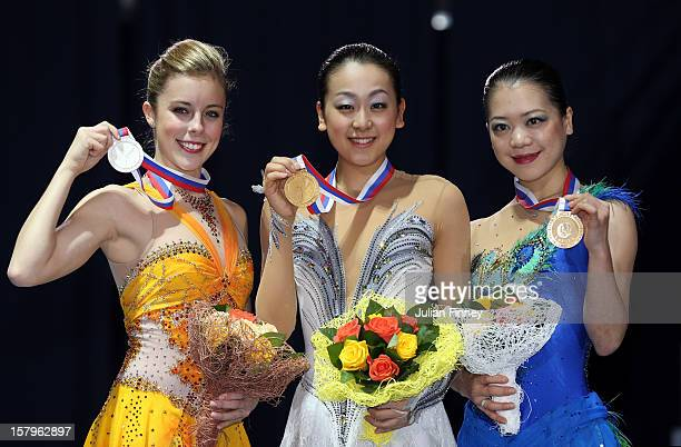 Ashley Wagner of USA with her silver medal Mao Asada of Japan with gold and Akiko Suzuki of Japan with bronze after the Ladies Free Skating during...