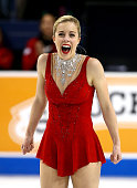 Ashley Wagner reacts after the Championship Ladies Free Skate Program Competition during day 3 of the 2015 Prudential US Figure Skating Championships...