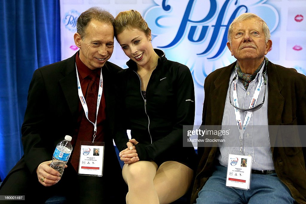 Ashley Wagner reacts with her coaches Phillip Mills and John Nicks as she gets her score after skating in the Ladies Short Program during the 2013 Prudential U.S. Figure Skating Championships at CenturyLink Center on January 24, 2013 in Omaha, Nebraska.