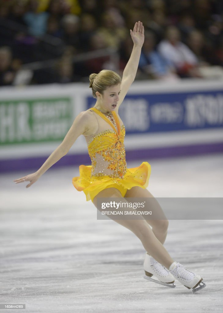Ashley Wagner, representing the United States, performs in the free program women's competition at the 2013 World Figure Skating Championships in London, Ontario, March 16, 2013. AFP PHOTO/Brendan SMIALOWSKI