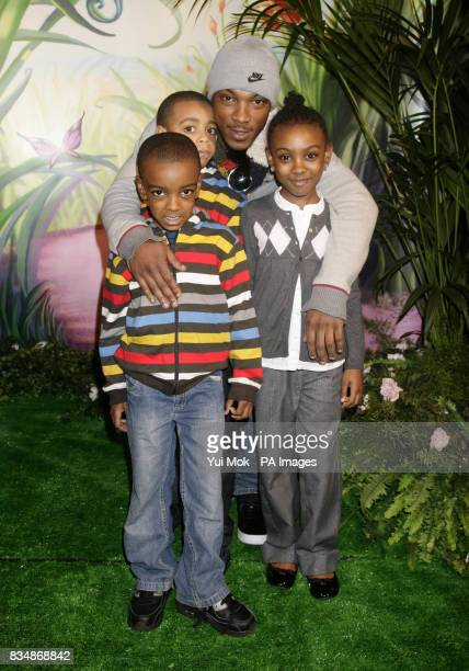 Ashley Walters and his children Shayon aged 8 China aged 7 and Paniro aged 5 at the UK premiere of the Disney animated movie 'Tinker Bell' at...