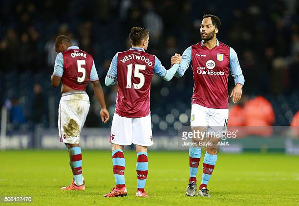 Ashley Westwood and Joleon Lescott of Aston Villa at fulltime of the Barclays Premier League match between West Bromwich Albion and Aston Villa at...