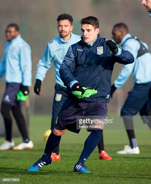 Ashley Westwood of Aston Villa in action during a Aston Villa training session at the club's training ground at Bodymoor Heath on January 23 2015 in...