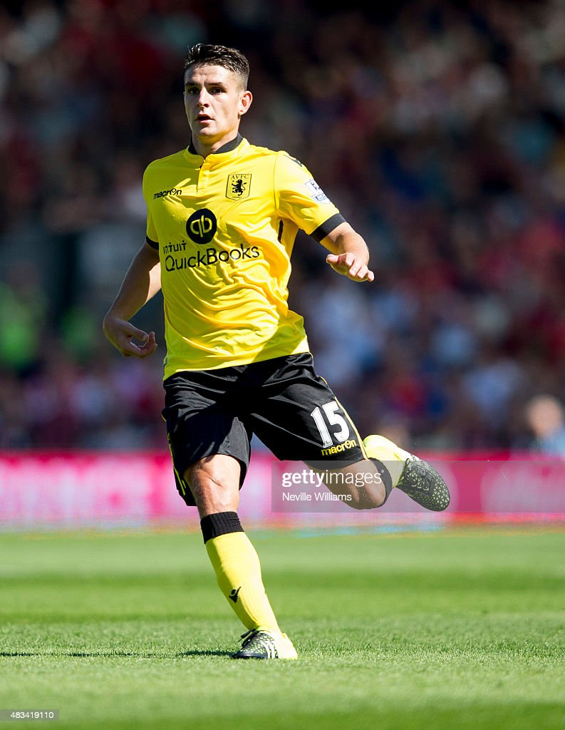 Ashley Westwood of Aston Villa in action during the Barclays Premier League match between A.F.C. Bournemouth and Aston Villa at the Vitality Stadium on August 08, 2015 in Bournemouth, England.
