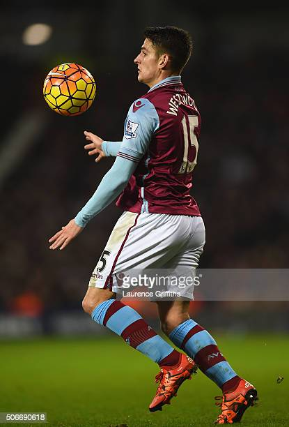 Ashley Westwood of Aston Villa in action during the Barclays Premier League match between West Bromwich Albion and Aston Villa at The Hawthorns on...