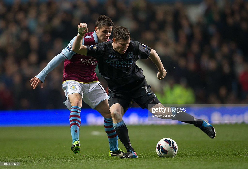 Ashley Westwood of Aston Villa is challenged by <a gi-track='captionPersonalityLinkClicked' href=/galleries/search?phrase=James+Milner+-+Soccer+Player&family=editorial&specificpeople=214576 ng-click='$event.stopPropagation()'>James Milner</a> of Manchester City during the Barclays Premier League match between Aston Villa and Manchester City at Villa Park on March 04, 2013 in Birmingham, England.