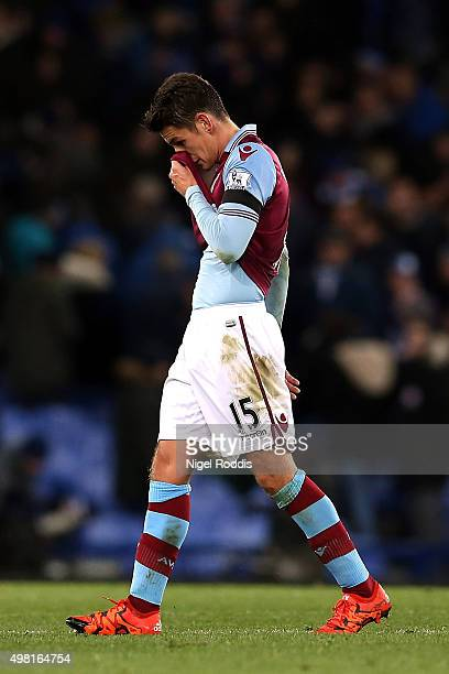 Ashley Westwood of Aston Villa leaves the pitch after his team's 04 defeat in the Barclays Premier League match between Everton and Aston Villa at...