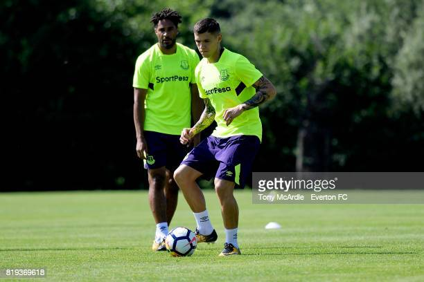 Ashley Williams and Muhamed Besic of Everton during preseason training on July 18 2017 in De Lutte Netherlands