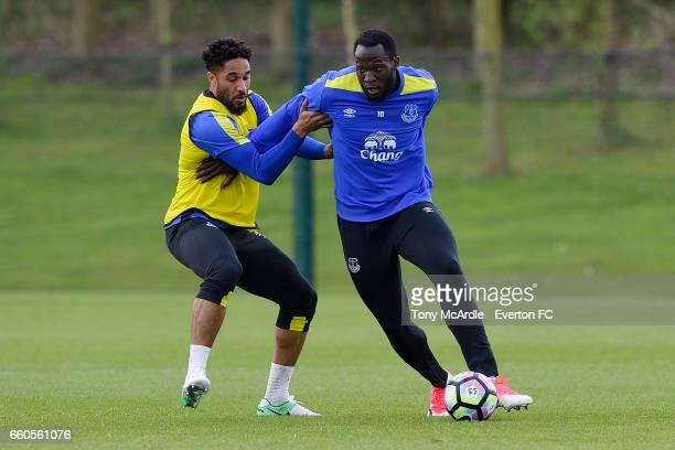 Ashley Williams and Romelu Lukaku challenge for the ball during the Everton FC training session at USM Finch Farm on March 30 2017 in Halewood England