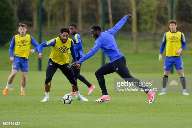 Ashley Williams and Romelu Lukaku during the Everton FC training session at USM Finch Farm on March 30 2017 in Halewood England