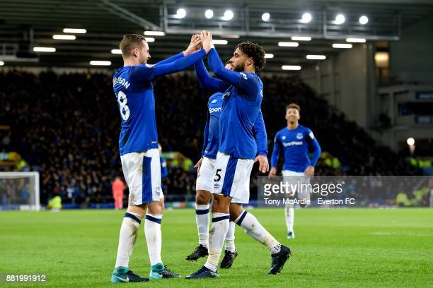 Ashley Williams celebrates his goal with Gylfi Sigurdsson during the Premier League match between Everton and West Ham United at Goodison Park on...