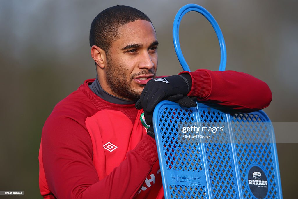 Ashley Williams during the Wales training session at Hensol Castle Park on February 4, 2013 in Cardiff, Wales.