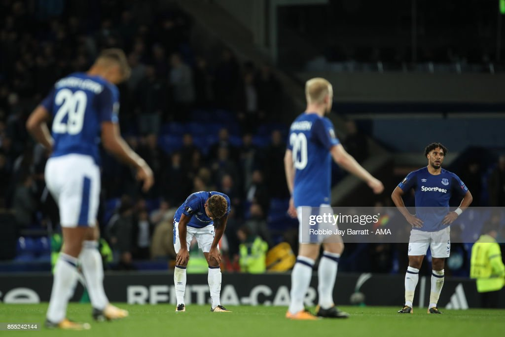 Ashley Williams of Everton and Mason Holgate of Everton dejected at full time during the UEFA Europa League group E match between Everton FC and Apollon Limassol at Goodison Park on September 28, 2017 in Liverpool, United Kingdom.