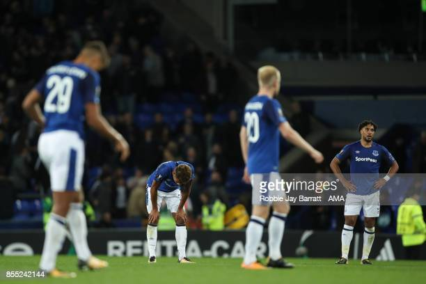Ashley Williams of Everton and Mason Holgate of Everton dejected at full time during the UEFA Europa League group E match between Everton FC and...