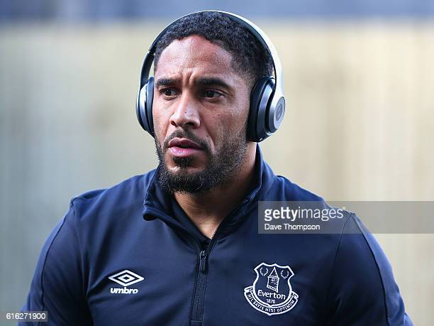 Ashley Williams of Everton arrives at the stadiium prior to kick off during the Premier League match between Burnley and Everton at Turf Moor on...