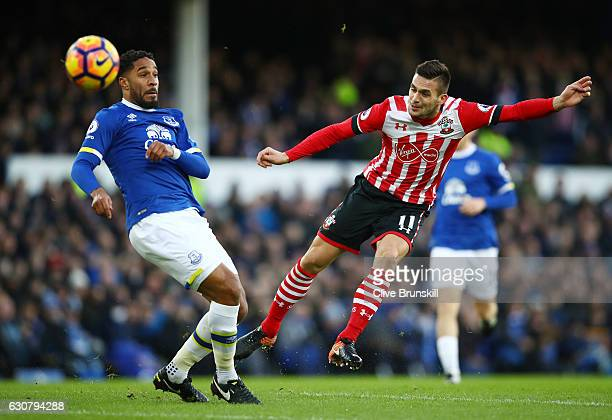 Ashley Williams of Everton attempts to block Dusan Tadic of Southampton shot during the Premier League match between Everton and Southampton at...