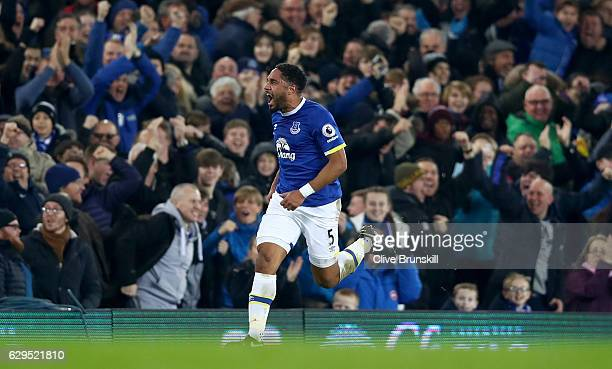Ashley Williams of Everton celebrates after scoring his team's second goal during the Premier League match between Everton and Arsenal at Goodison...