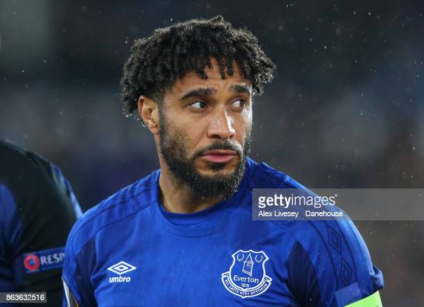 Ashley Williams of Everton FC lines up prior to the UEFA Europa League group E match between Everton FC and Olympique Lyon at Goodison Park on...