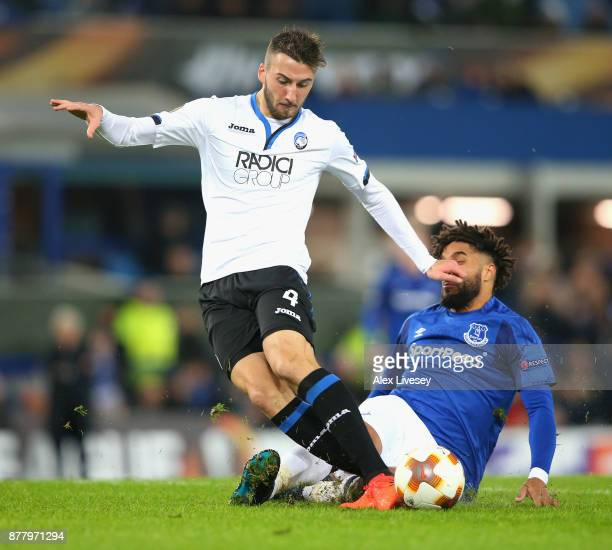 Ashley Williams of Everton fouls Bryan Cristante of Atalanta which leads to a penalty during the UEFA Europa League group E match between Everton FC...