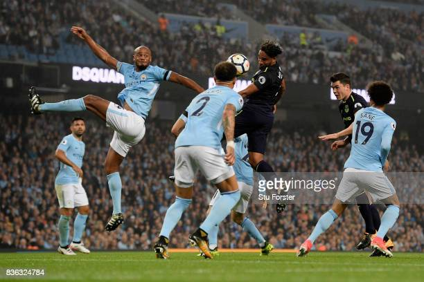 Ashley Williams of Everton heads at goal during the Premier League match between Manchester City and Everton at Etihad Stadium on August 21 2017 in...