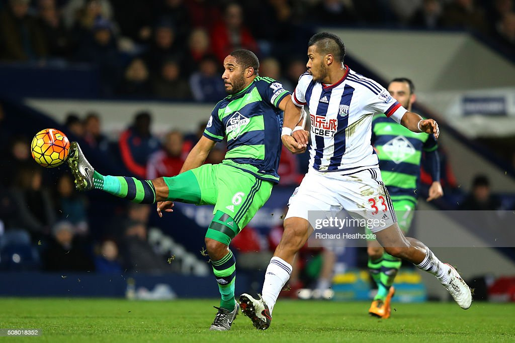 Ashley Williams of Swansea City and Salomon Rondon of West Bromwich Albion compete for the ball during the Barclays Premier League match between West Bromwich Albion and Swansea City at The Hawthorns on February 2, 2016 in West Bromwich, England.