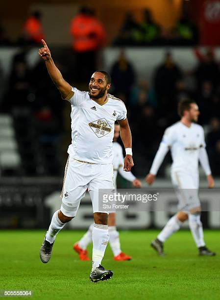 Ashley Williams of Swansea City celebrates after scoring the opening goal during the Barclays Premier League match between Swansea City and Watford...
