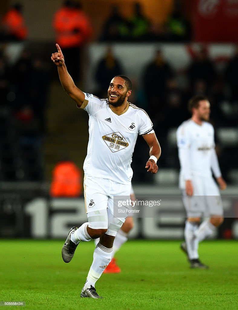 <a gi-track='captionPersonalityLinkClicked' href=/galleries/search?phrase=Ashley+Williams+-+Soccer+Player&family=editorial&specificpeople=13495389 ng-click='$event.stopPropagation()'>Ashley Williams</a> of Swansea City celebrates after scoring the opening goal during the Barclays Premier League match between Swansea City and Watford at Liberty Stadium on January 18, 2016 in Swansea, Wales.