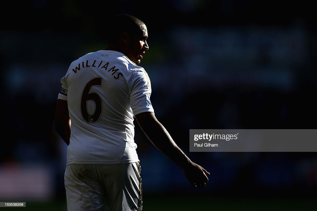 Ashley Williams of Swansea City looks on during the Barclays Premier League match between Swansea City and Reading at the Liberty Stadium on October 6, 2012 in Swansea, Wales.