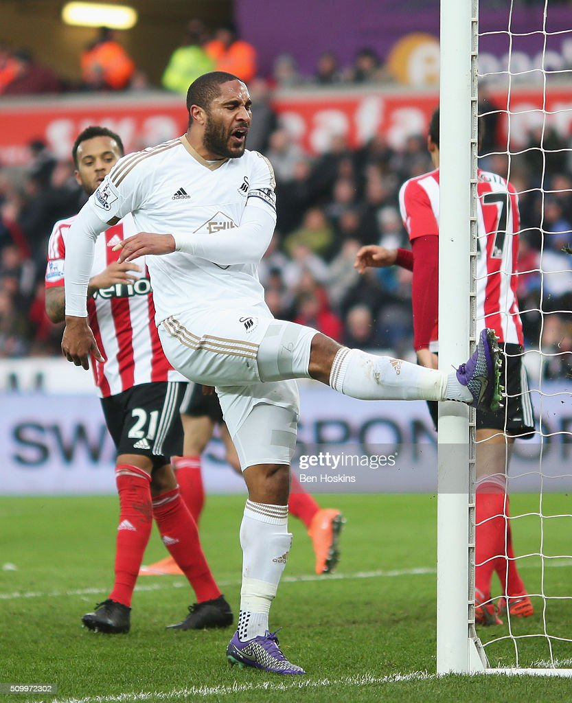 Ashley Williams of Swansea City reacts after missing a chance during the Barclays Premier League match between Swansea City and Southampton at Liberty Stadium on February 13, 2016 in Swansea, Wales.