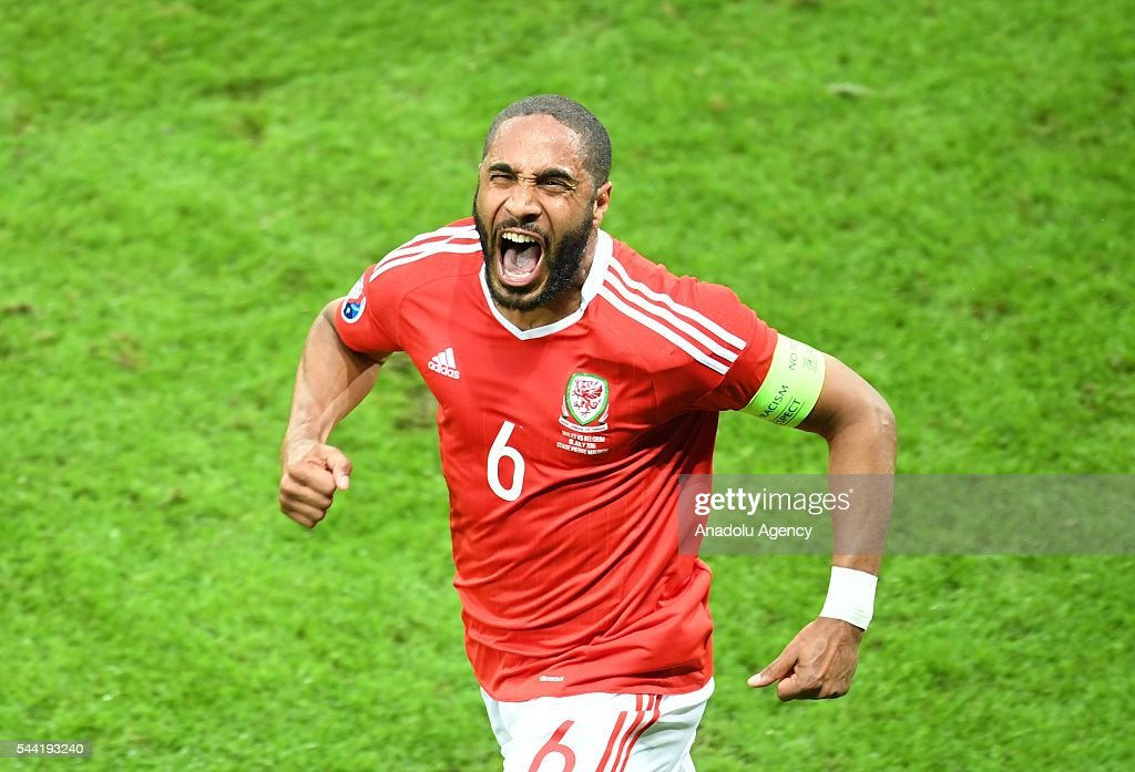 Ashley Williams of Wales celebrates after scoring a goal during the Euro 2016 quarter-final football match between Wales and Belgium at the Stadium Pierre Mauroy in Lille, France on July 1, 2016.