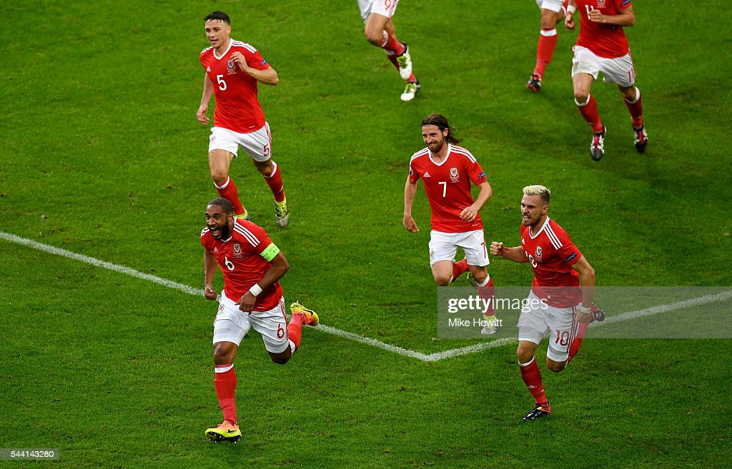 <a gi-track='captionPersonalityLinkClicked' href=/galleries/search?phrase=Ashley+Williams+-+Soccer+Player&family=editorial&specificpeople=13495389 ng-click='$event.stopPropagation()'>Ashley Williams</a> of Wales celebrates scoring his team's first goal during the UEFA EURO 2016 quarter final match between Wales and Belgium at Stade Pierre-Mauroy on July 1, 2016 in Lille, France.