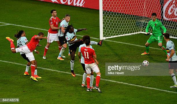 Ashley Williams of Wales heads the ball to score his team's first goal during the UEFA EURO 2016 quarter final match between Wales and Belgium at...
