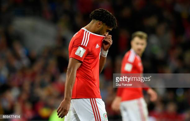 Ashley Williams of Wales looks dejected during the FIFA 2018 World Cup Group D Qualifier between Wales and Republic of Ireland at the Cardiff City...