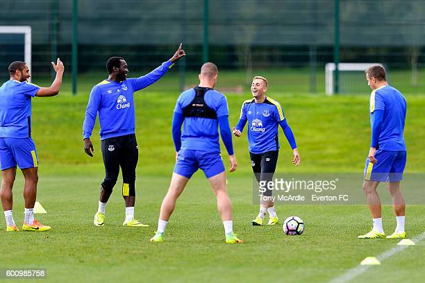 Ashley Williams Romelu Lukaku and Gerard Deulofeu during the Everton FC training session at Finch Farm on September 8 2016 in Halewood England