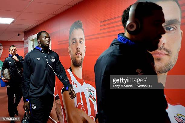 Ashley Williams Romelu Lukaku and Kevin Mirallas arrive before the Barclays Premier League match between Southampton and Everton at St Mary's Stadium...