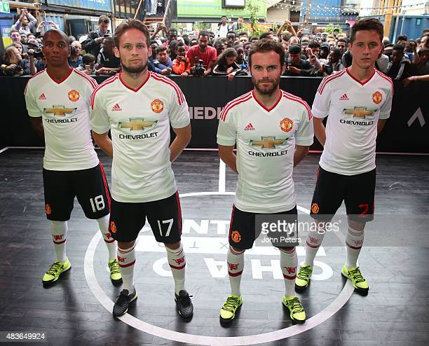 Ashley Young Daley Blind Juan Mata and Ander Herrera of Manchester United attend the global launch of the 201516 Manchester United away kit on August...