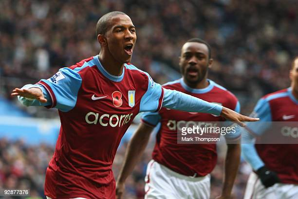 Ashley Young of Aston Villa celebrates his goal during the Barclays Premier League match between Aston Villa and Bolton Wanderers at Villa Park on...