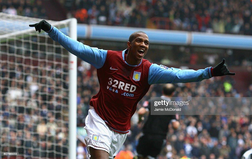 Ashley Young of Aston Villa celebrates his second goal during the Barclays Premier League match between Aston Villa and Birmingham City at Villa Park...