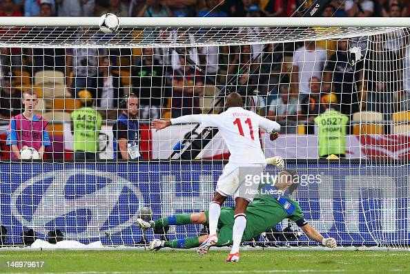 Ashley Young of England misses his penalty in a shootout during the UEFA EURO 2012 quarter final match between England and Italy at The Olympic...