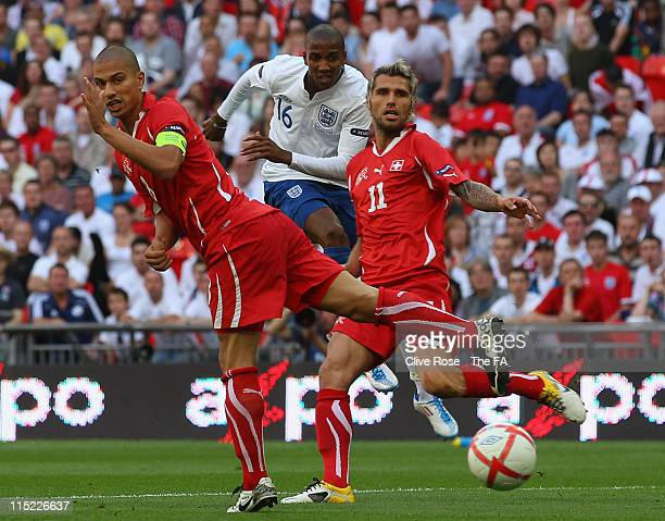 Ashley Young of England scores the second goal during the UEFA EURO 2012 Group G qualifying match between England and Switzerland at Wembley Stadium...