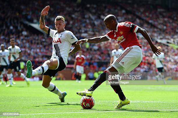 Ashley Young of Manchester United and Toby Alderweireld of Tottenham Hotspur compete for the ball during the Barclays Premier League match between...