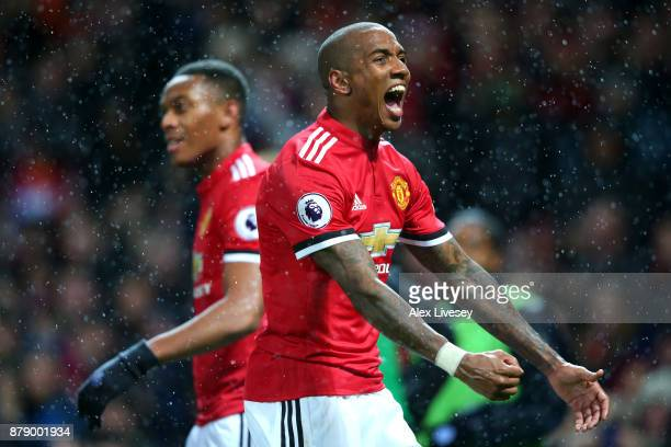 Ashley Young of Manchester United celebrates scoring his sides first goal during the Premier League match between Manchester United and Brighton and...
