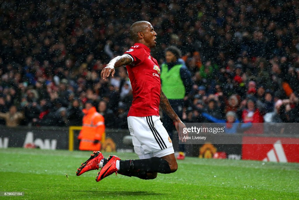Ashley Young of Manchester United celebrates scoring his sides first goal during the Premier League match between Manchester United and Brighton and Hove Albion at Old Trafford on November 25, 2017 in Manchester, England.
